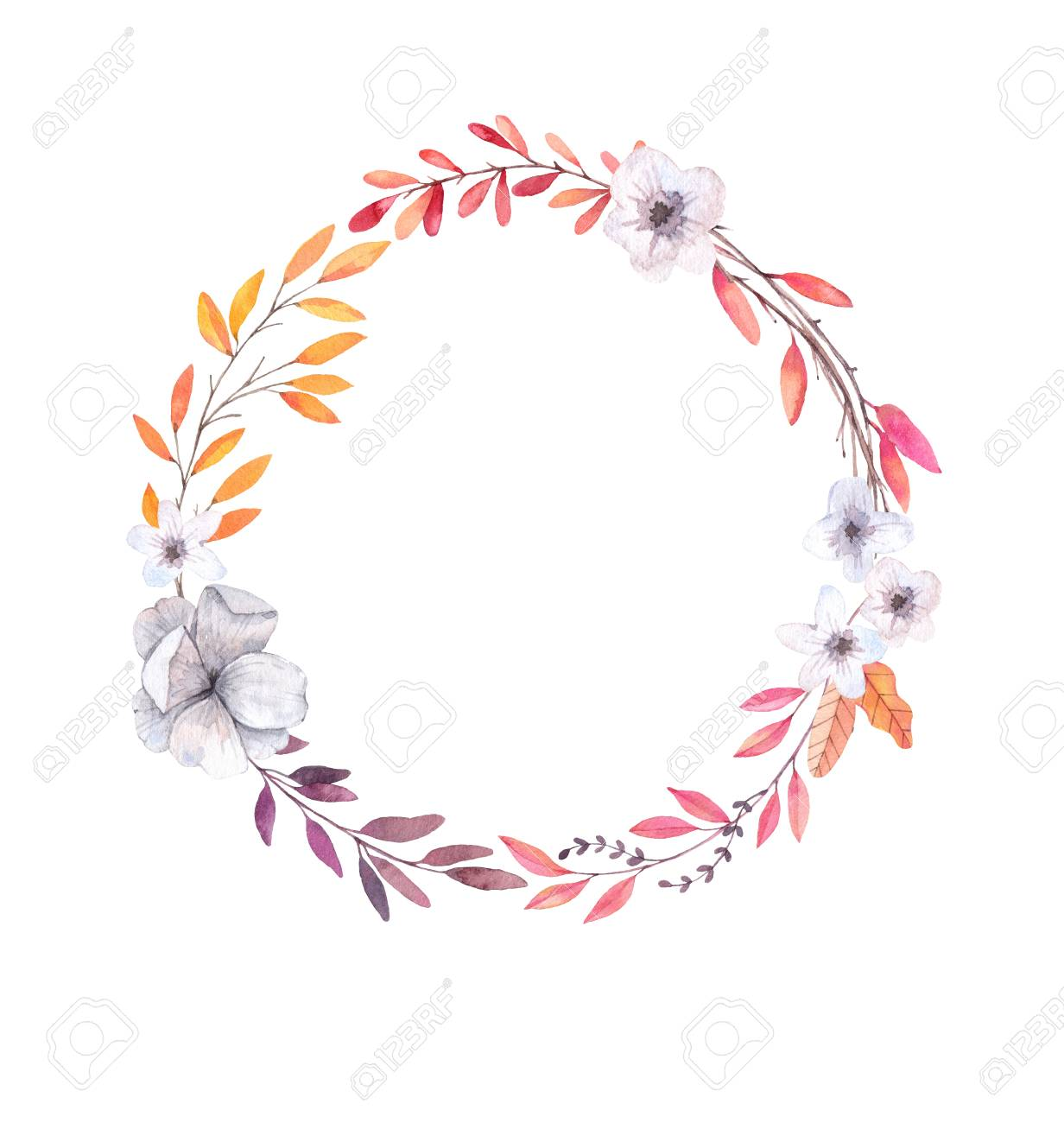 Hand Drawn Watercolor Illustration. Autumn Wreath. Fall Leaves ...