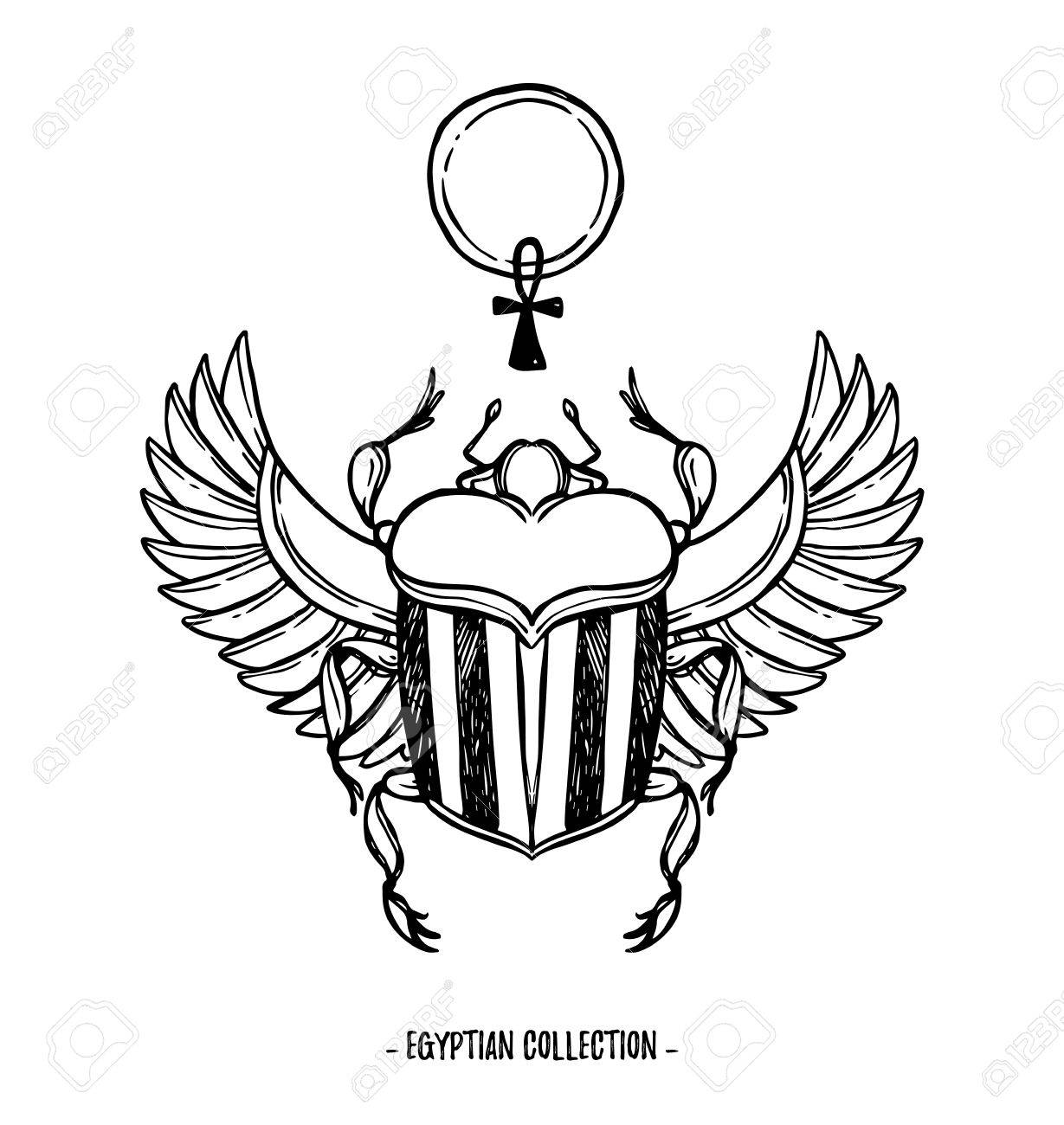 Hand Drawn Vector Illustration Egyptian Collection Scarab