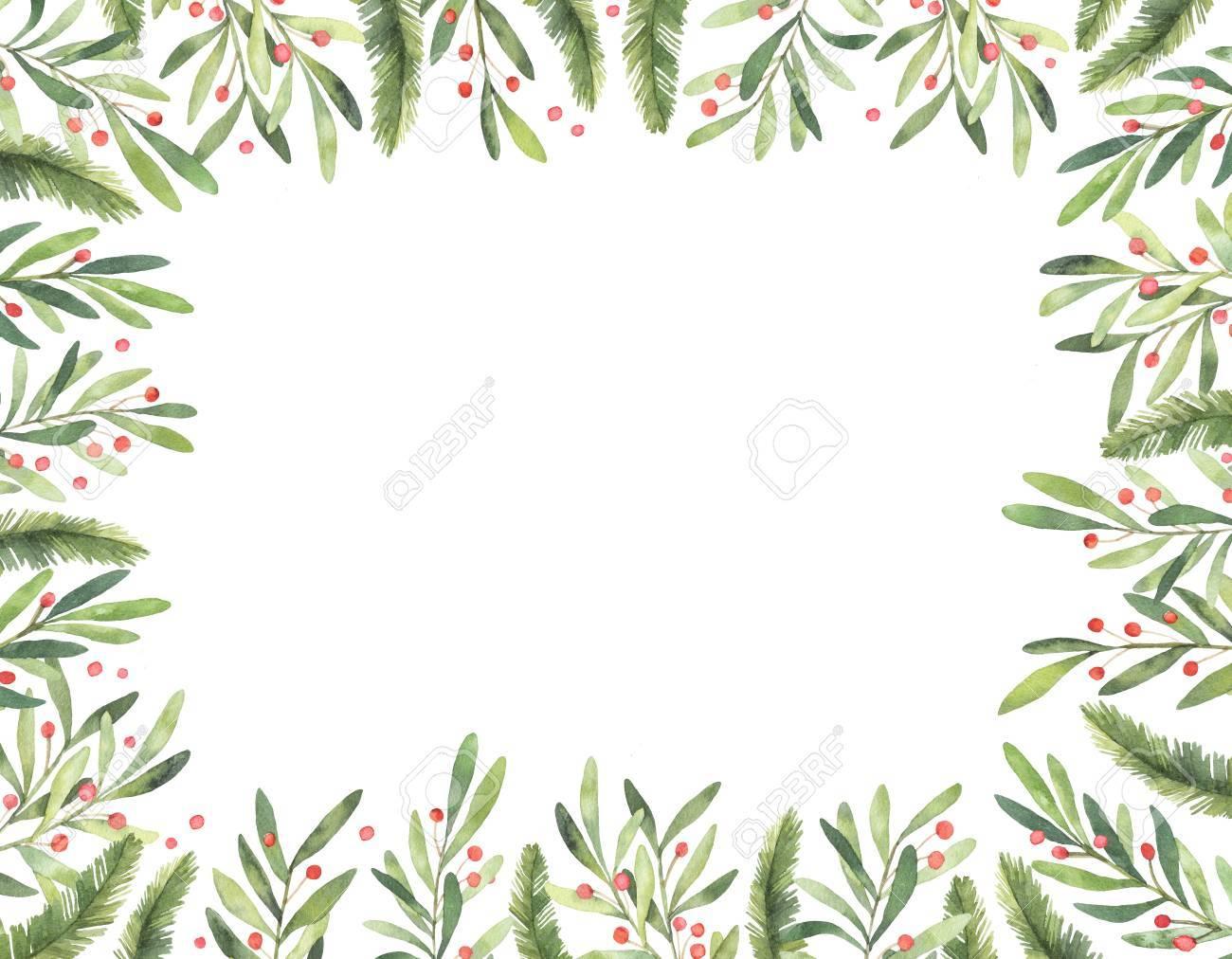 Ilustración De Acuarela. Marco De Navidad Vertical Listo Para Usar ...
