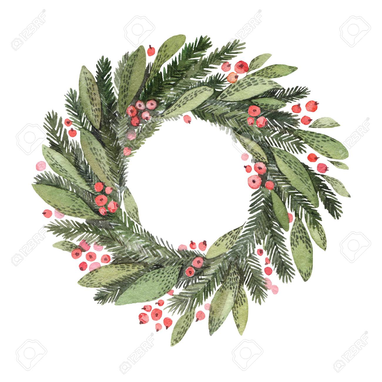 Watercolor illustration. Decorative christmas laurel wreath. Perfect for invitations, greeting cards, blogs, posters and more. Merry christmas and happy new year - 90747305