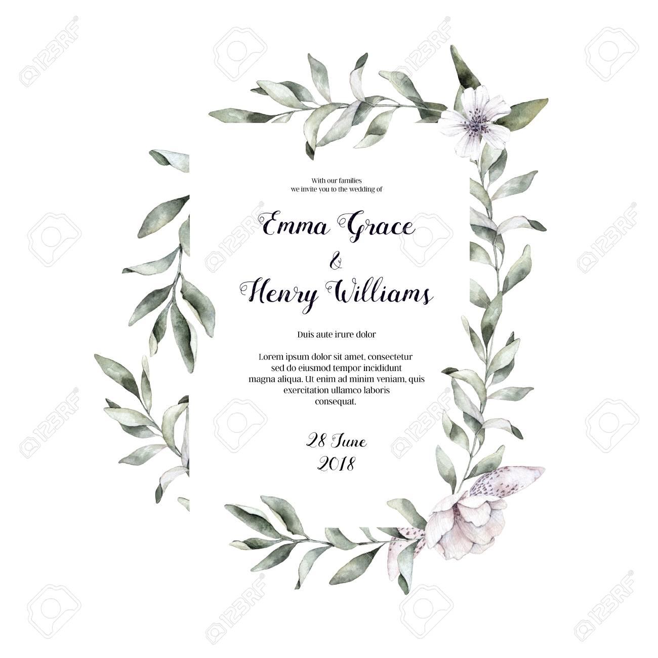 Hand Drawn Watercolor Illustration Botanical Wedding Invitation