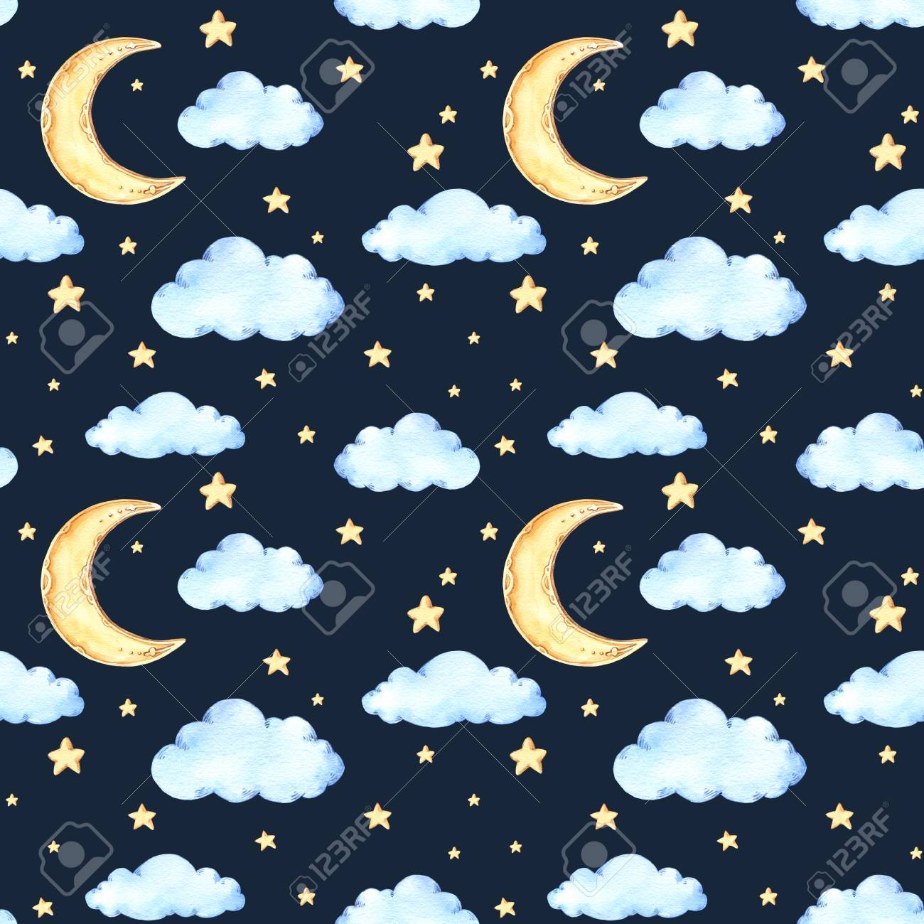 Watercolor Seamless Pattern Moon And Stars Ideas For A Childrens