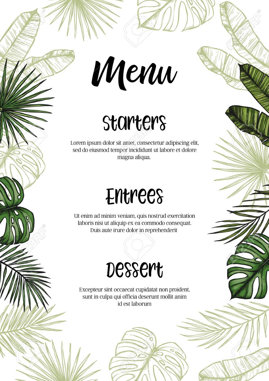 Tropical Wedding Menu Invitation With Palm Leaves Hand Drawn