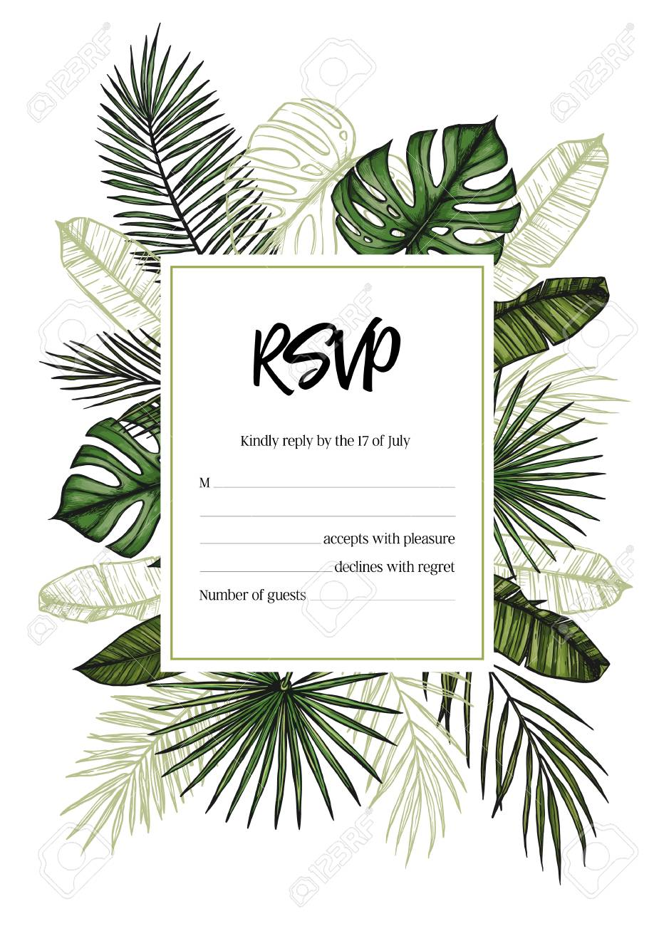 Wedding Rsvp Template.Tropical Wedding Rsvp Invitation With Palm Leaves Hand Drawn