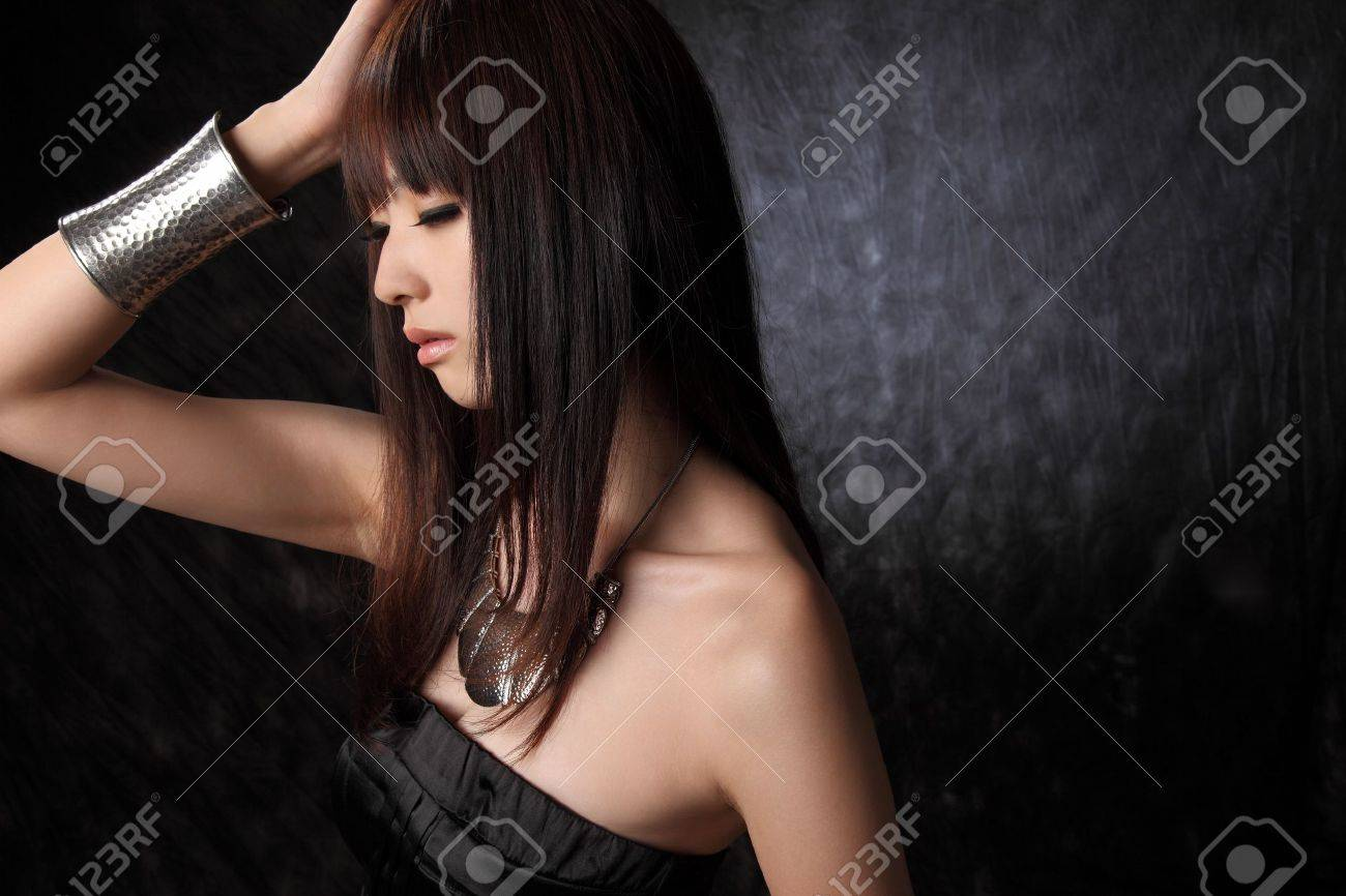Young Asian model black background Stock Photo - 11700293