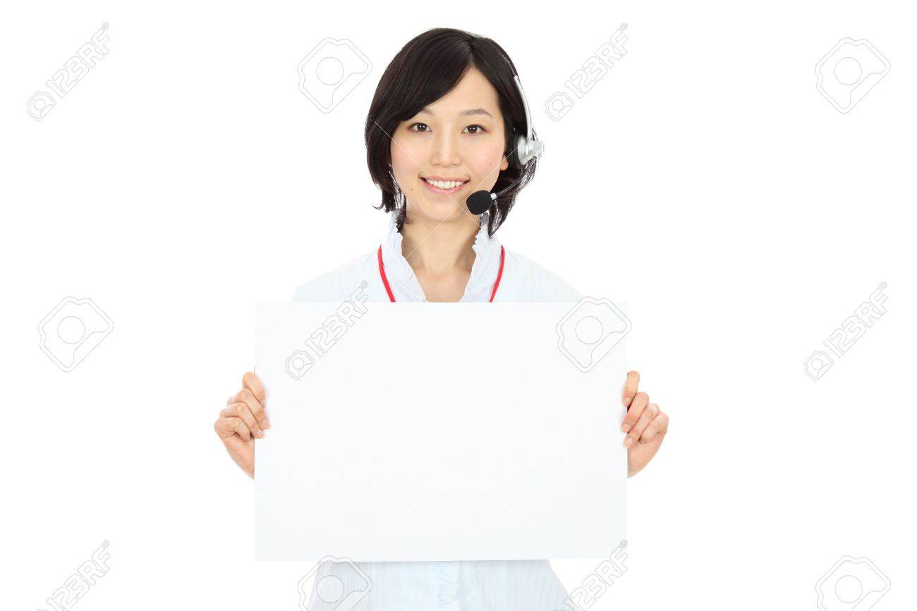 Whiteboard and young female operators Stock Photo - 20056234