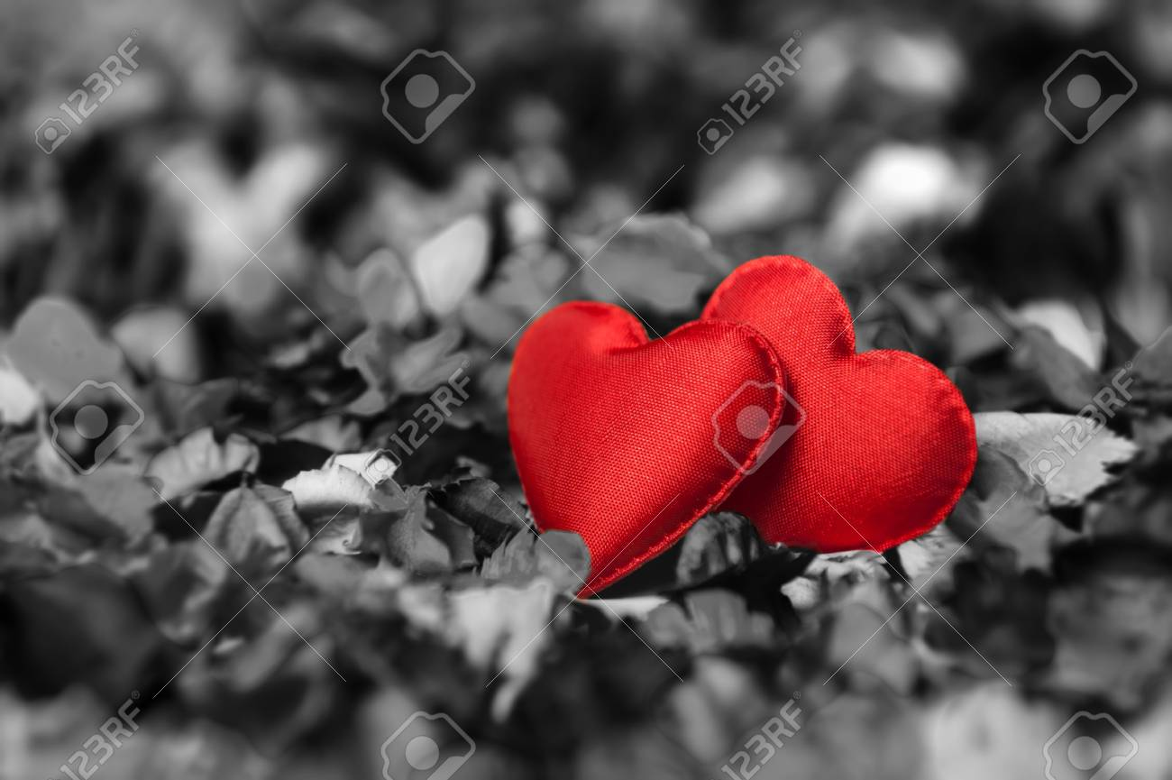 Two red hearts on black and white background