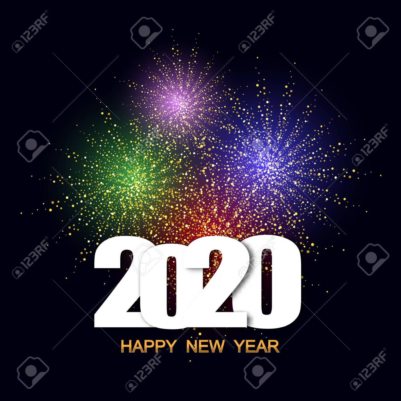 Happy New Year 2020 festival with colorful fireworks background.Greeting card and party poster.Celebration and cheerful holiday. eps10 - 141603443