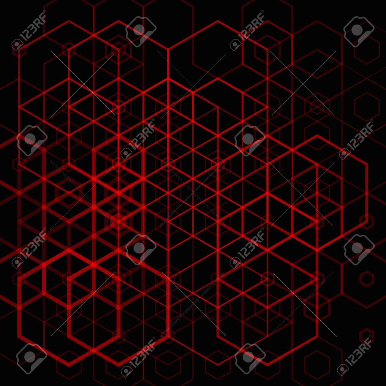 Abstract red hexgonal pattern on dark background - 148479244