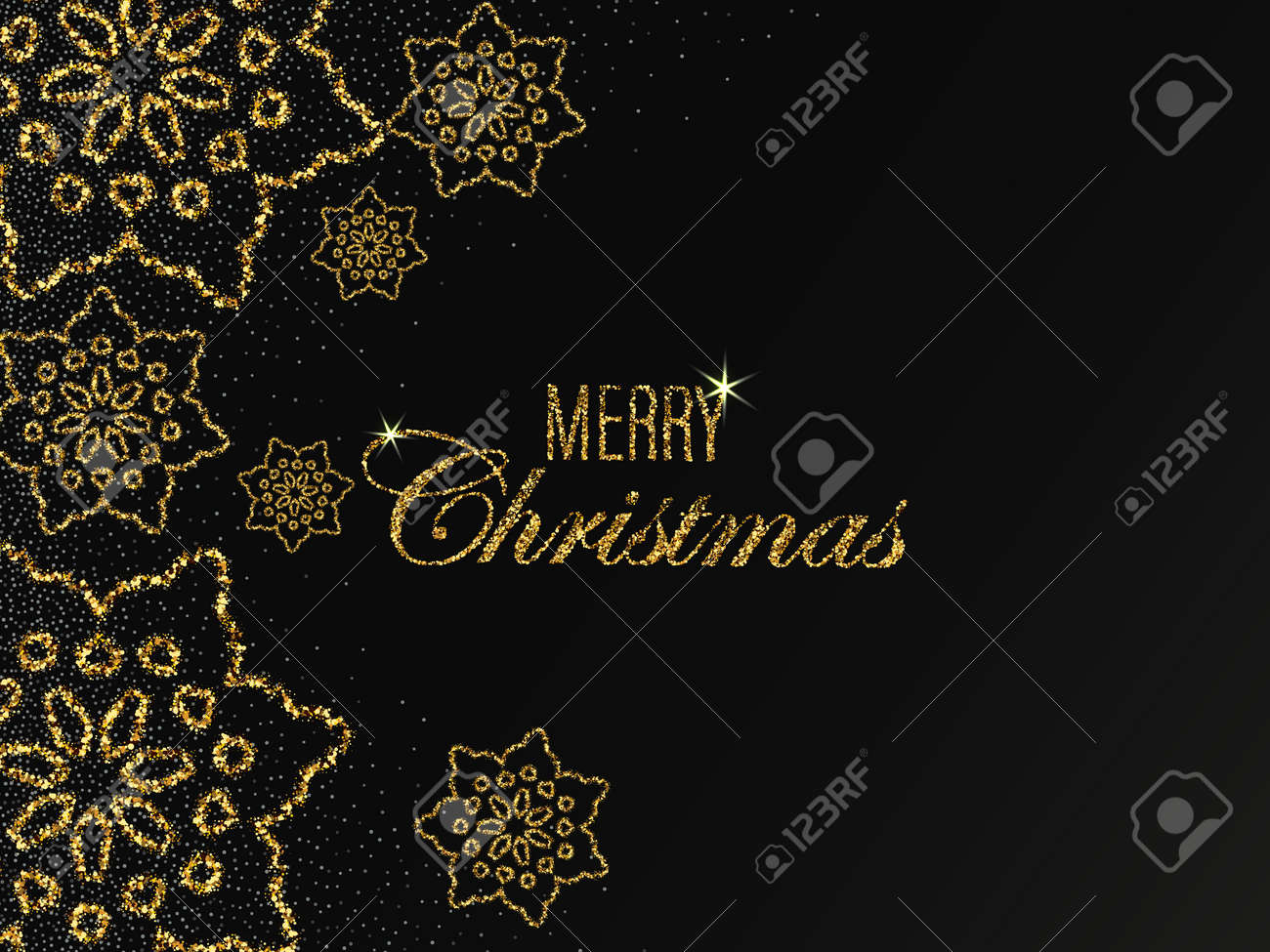 Christmas vector background with shining golden snowflakes and snow. Merry Christmas card illustration on black background. Sparkling golden snowflakes with glitter texture - 159905243
