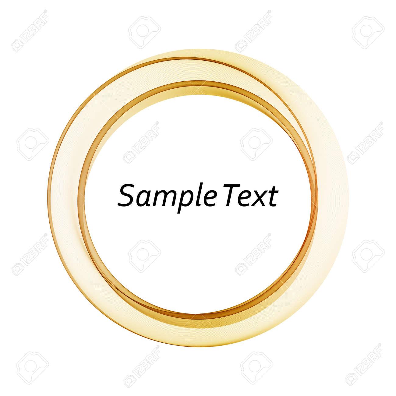 Wavy round gold frame, on white background - 165552985