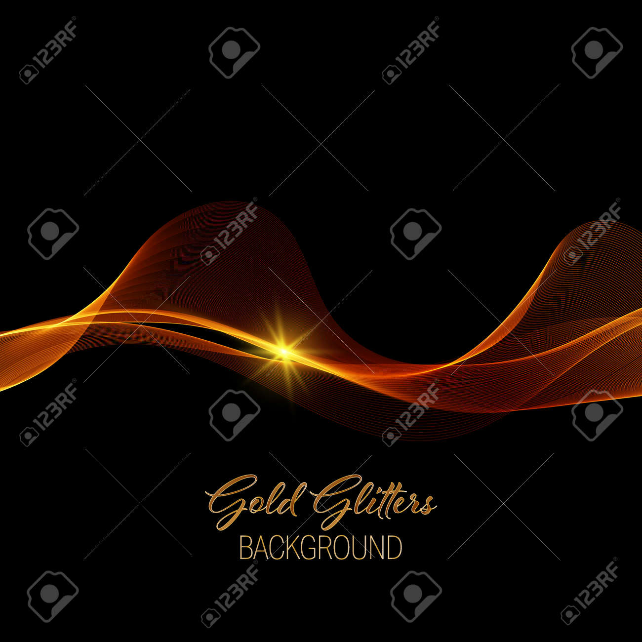 Abstract shiny color gold wave design element with gold glitter effect on dark background. - 165552990