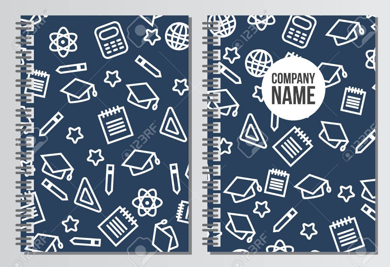 notebook cover back to school background branding template