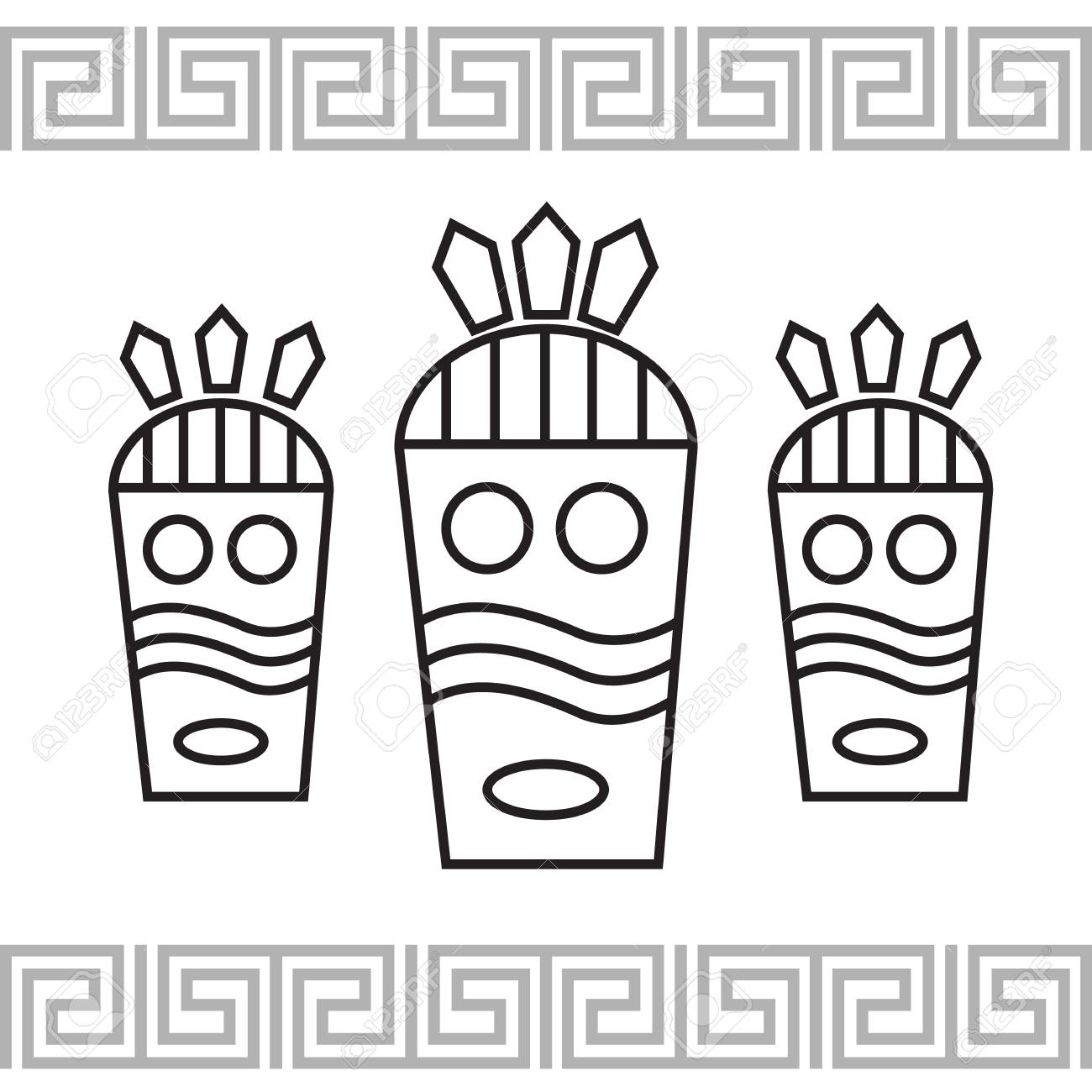 Tribal style card with mask illustration - 65432825