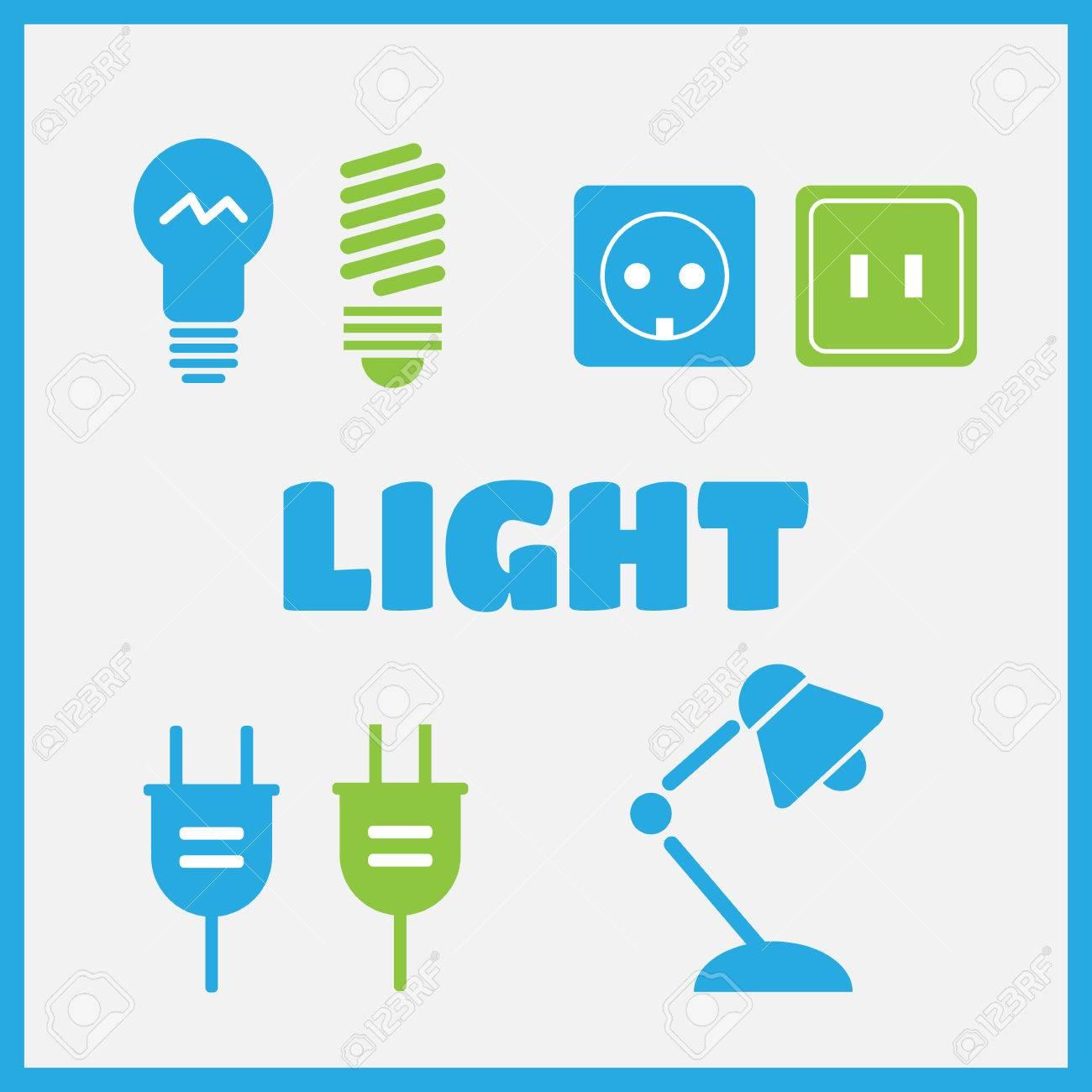 Lampe Und Glühbirnen Schwarz Vektor-Icons Gesetzt. Elektrische ...