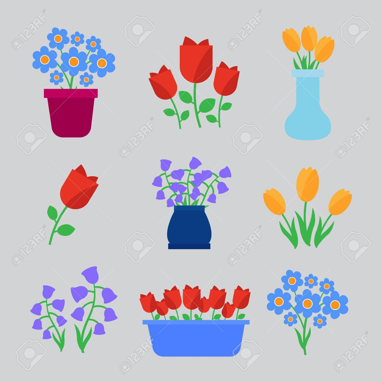 Spring Flowers Fun And Cute Vector Spring Flowers Icons Flowers