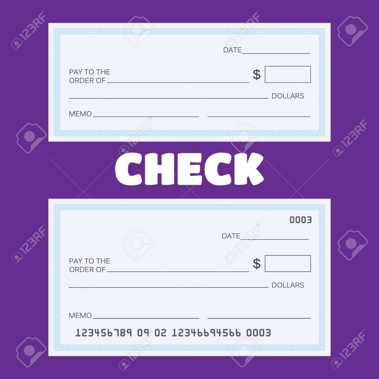 Cheque En Blanco. Plantilla De Verificación En Blanco. Ilustraciones ...