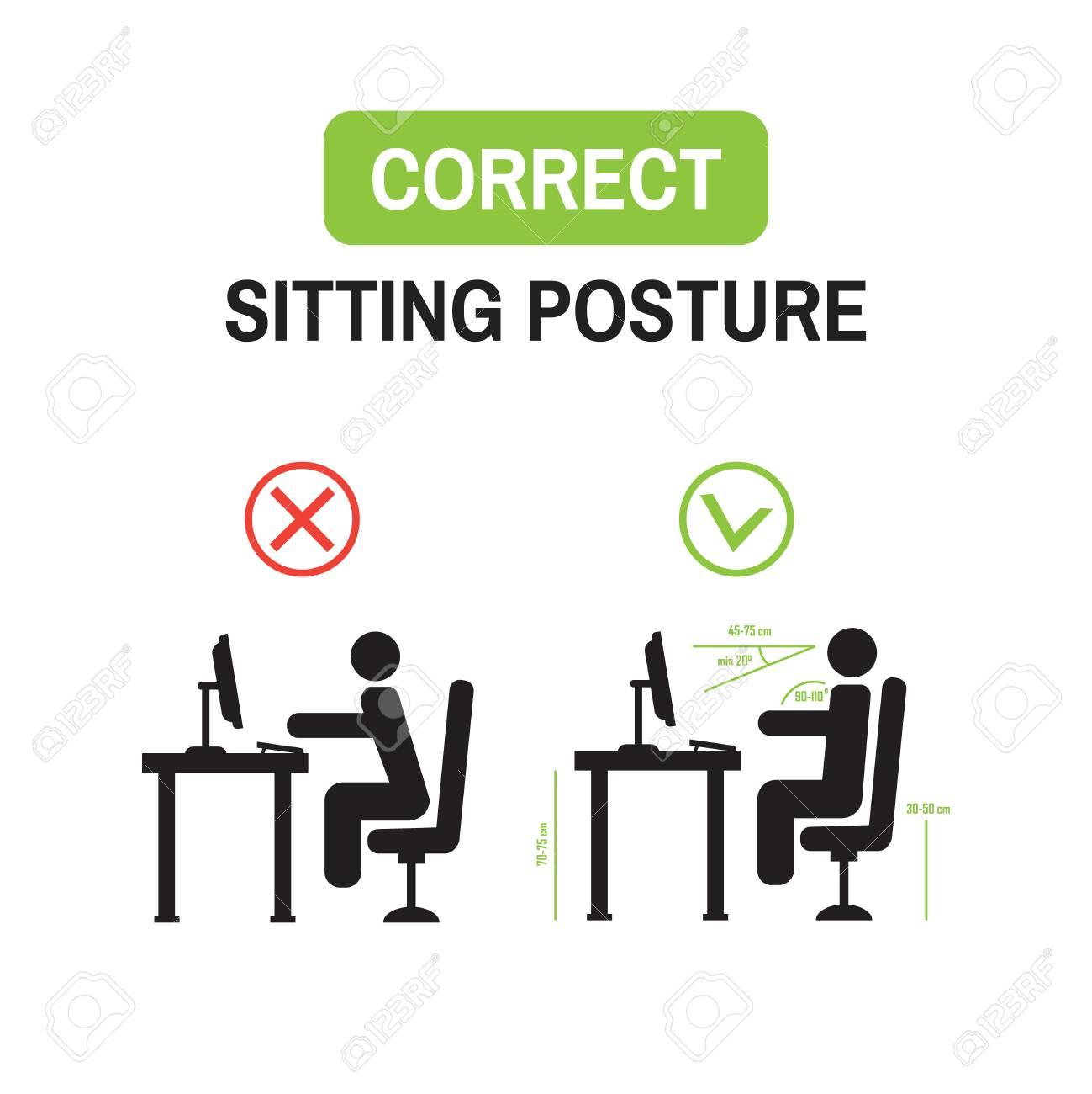 Ergonomische Büro Haltung Richtige Sitzhaltung Korrekte Position