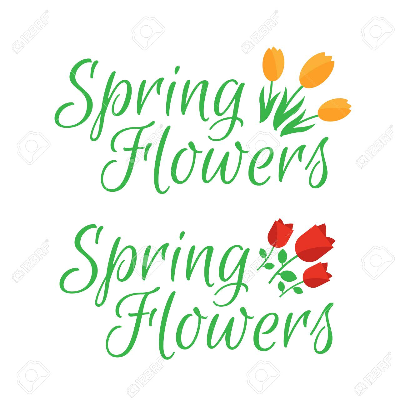 Spring Flowers Cute Vector Spring Flowers Icons Simple Flowers