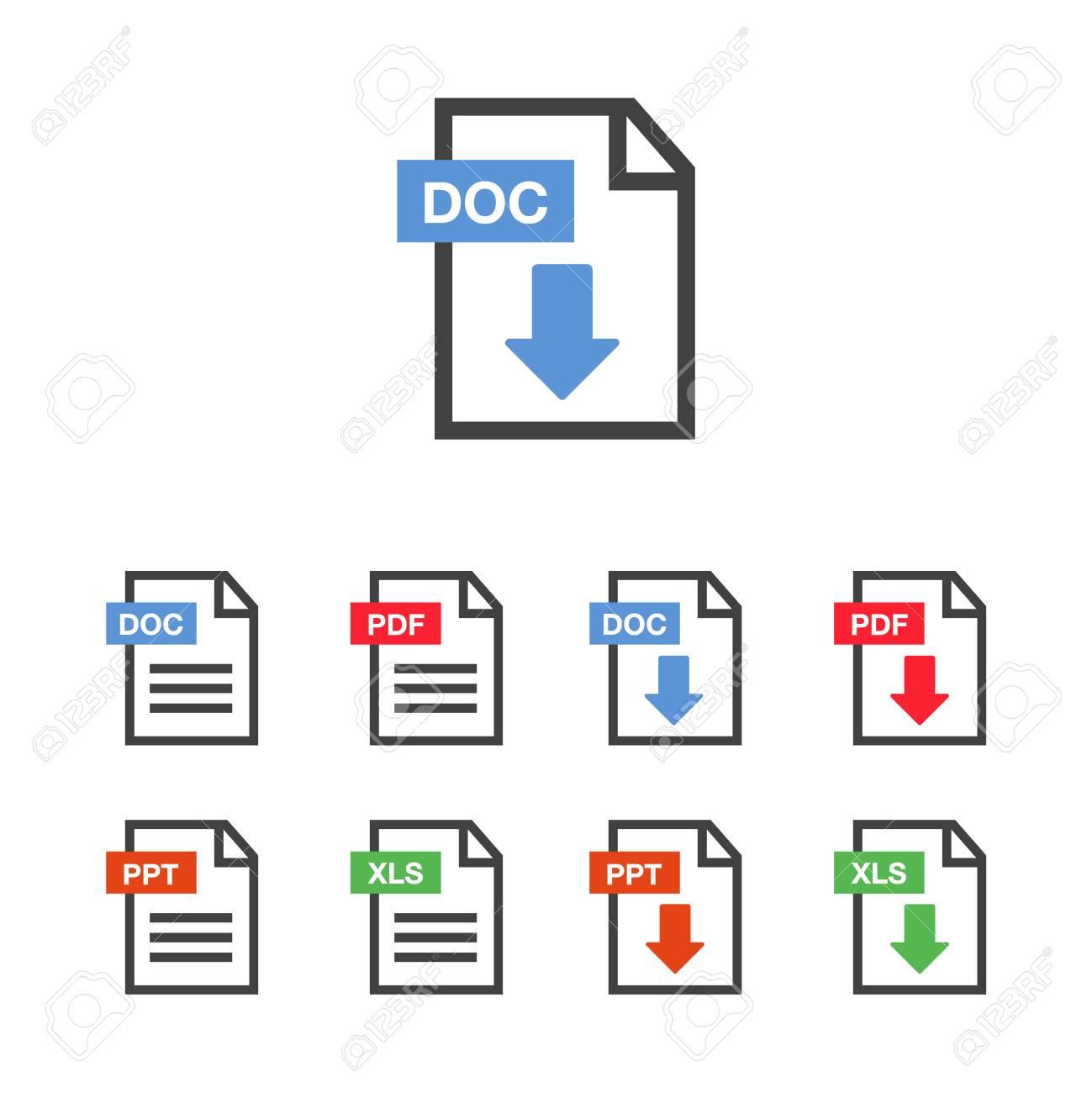 Document icon set  File Icons  PDF file download icon