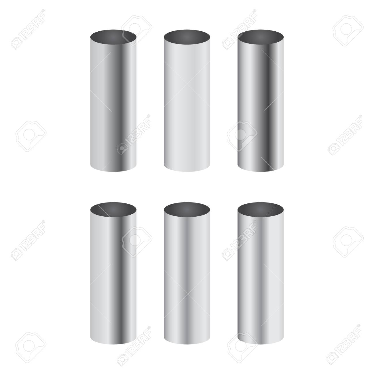 Chrome metal polished gradients corresponding to cylinder pipe vector set - 110788416