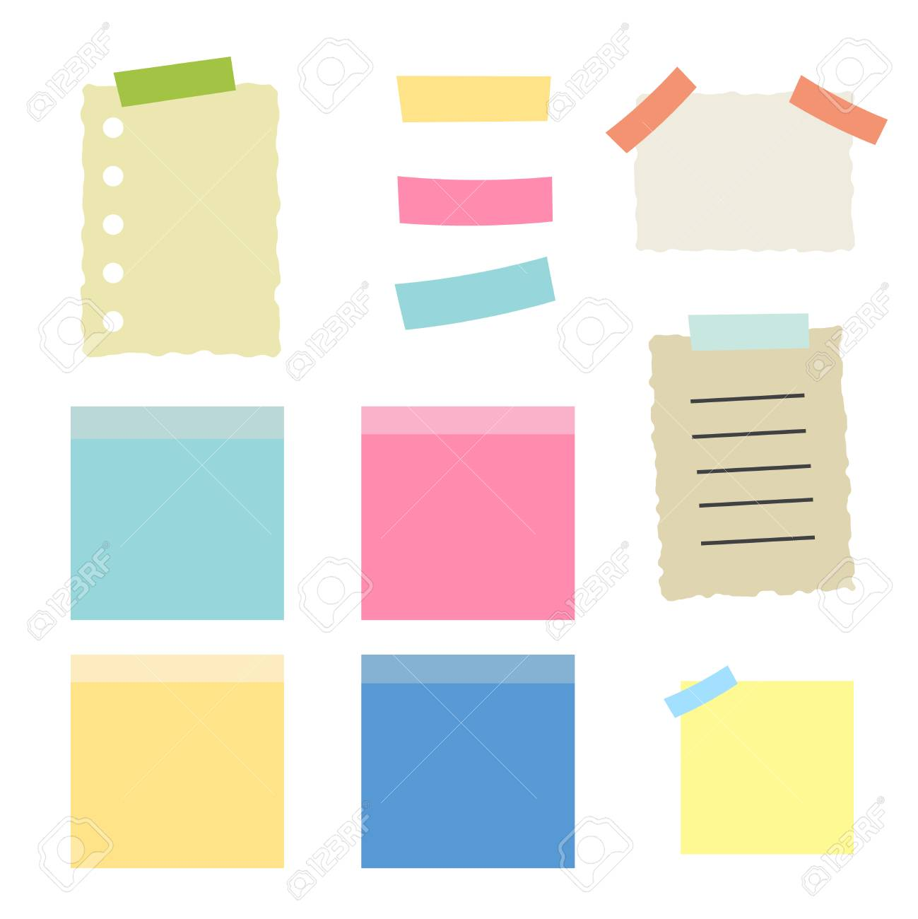 Colored sheets of note papers vector illustration. Multicolor post it notes isolated - 124933529