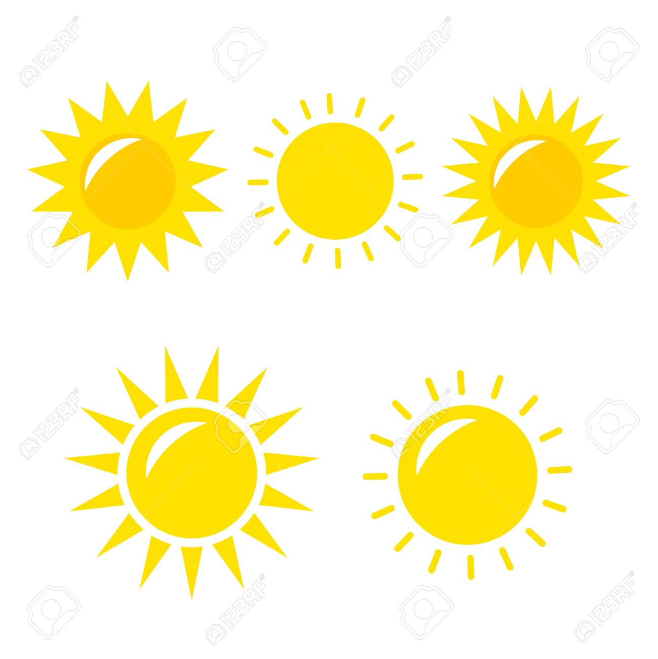 Sun Vector icon. Sun Vector doodle illustration. Sun Vector icon yellow set - 148760277