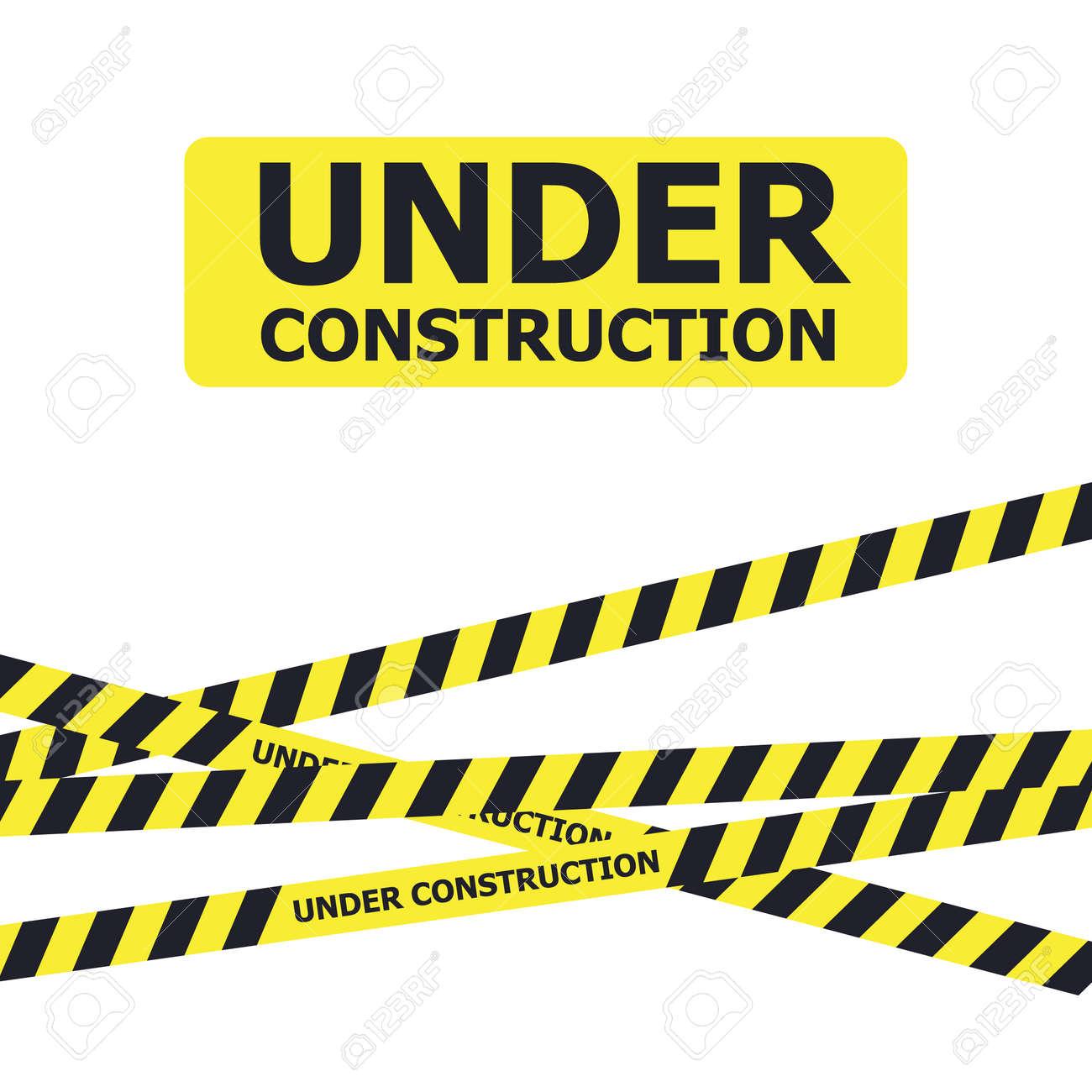 Under construction website page. Under construction warning banner - 151249526