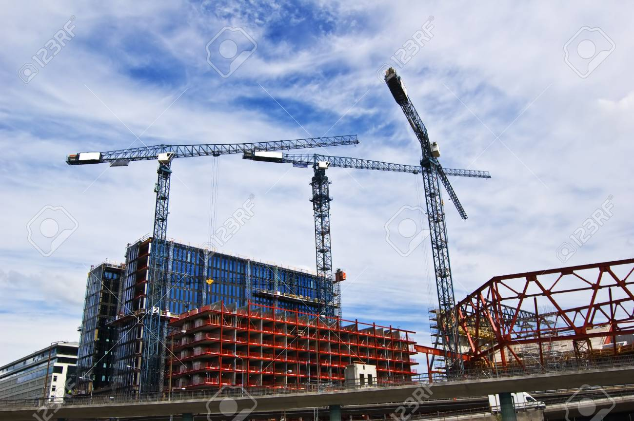 Building cranes in action in Stockholm Stock Photo - 5008228