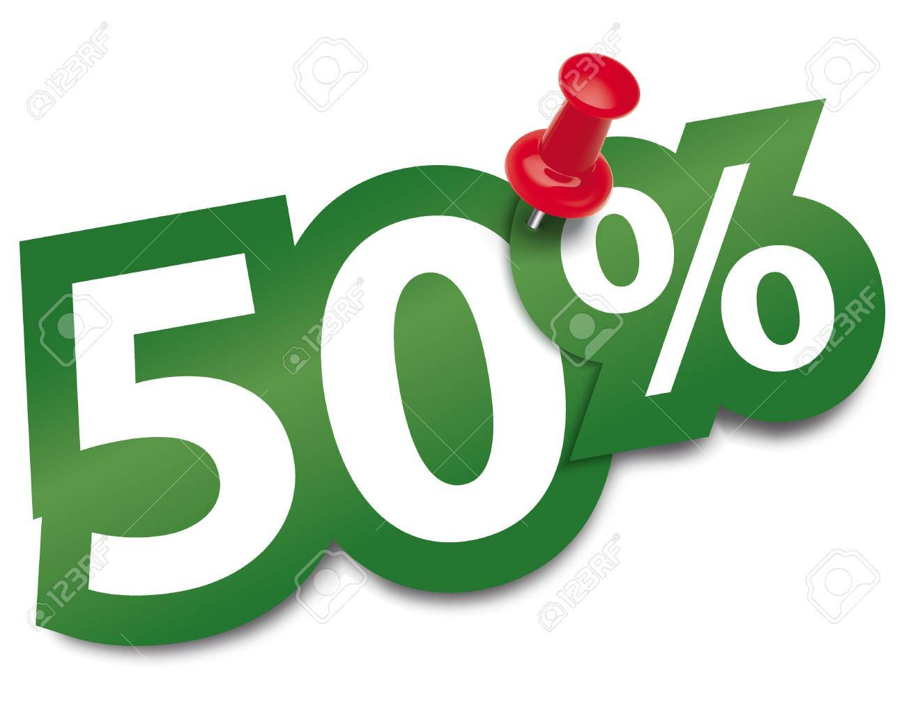 Fifty percent sticker fixed by a thumbtack. Vector illustration - 24926349