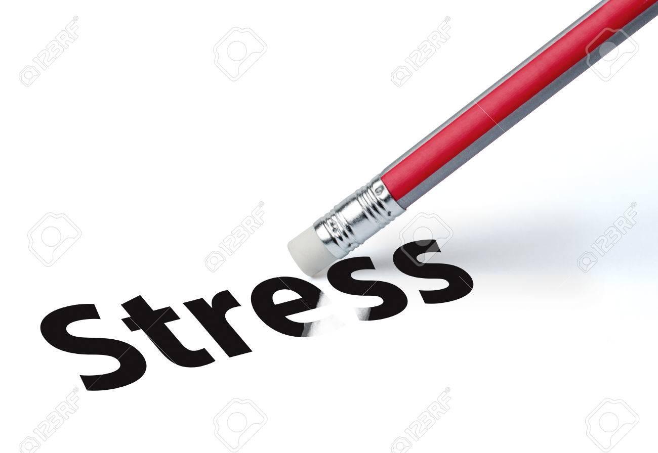 Pencil erasing the word 'stress' - 27383297