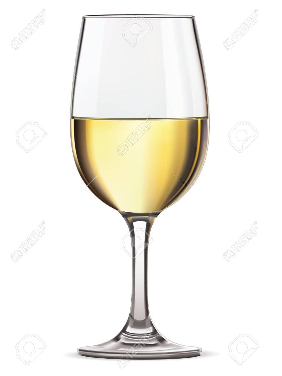 Glass of white wine, isolated illustration - 36487886