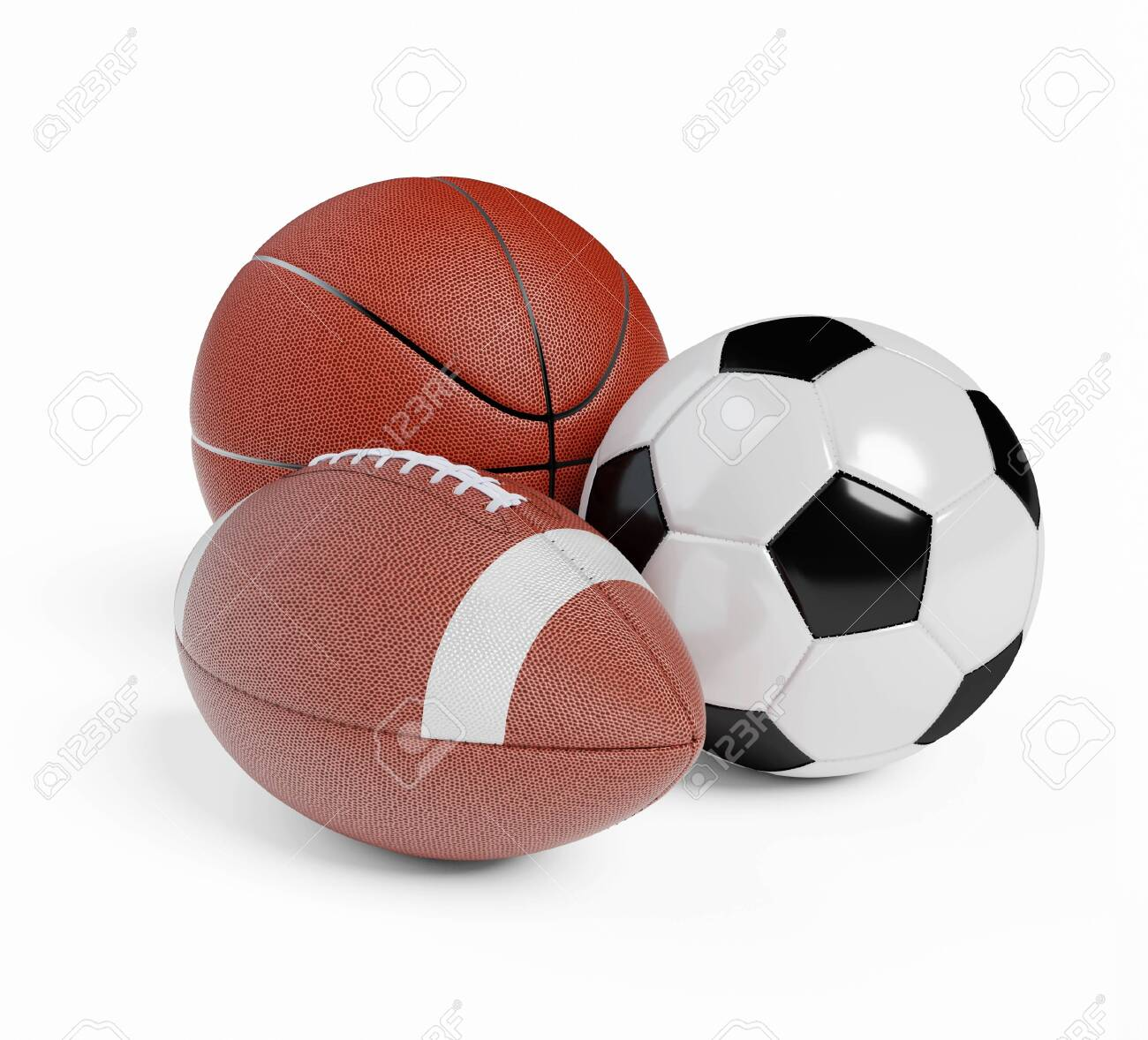 Various sports balls. Sports Equipment on White Background. Render 3d illustration - 137766156