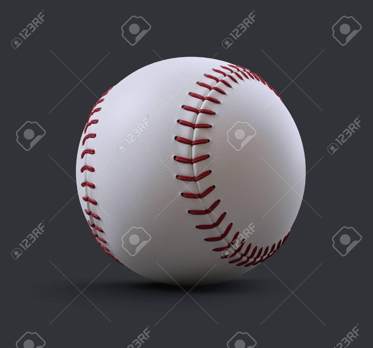 A baseball on a gray background . 3d render illustration - 139807301
