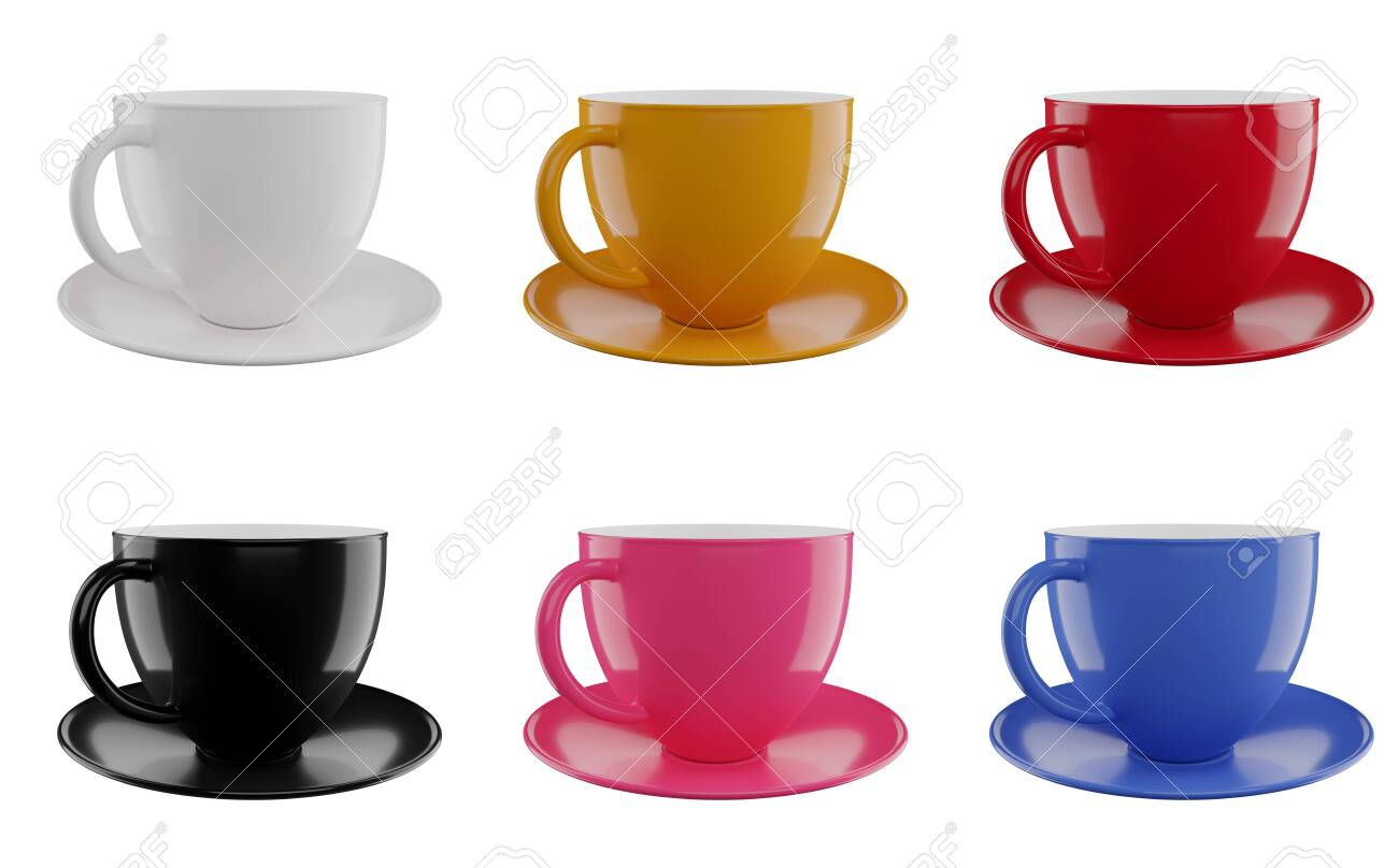 Colorful cups set isolated on white background . 3d render illustration - 139807595
