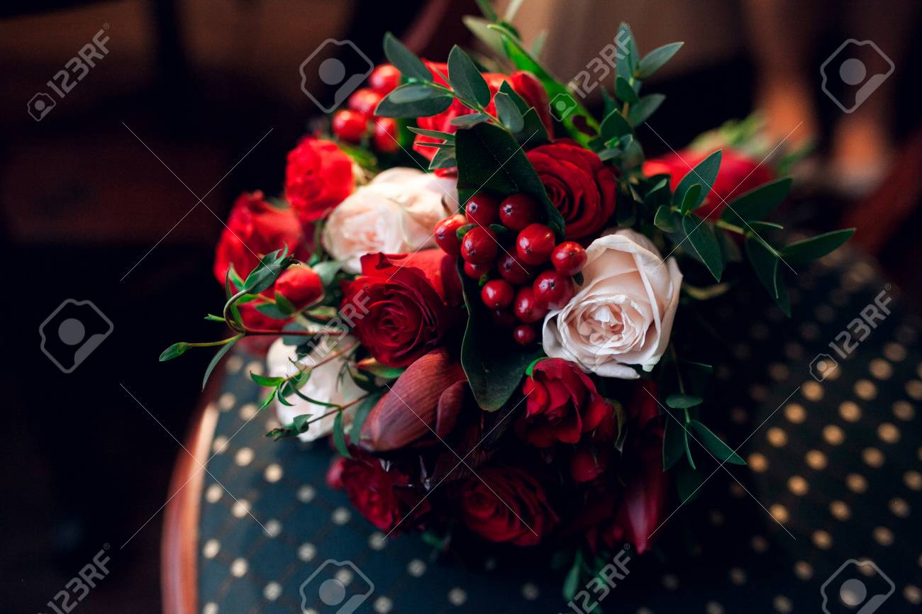 Classic Wedding Bouquet With Red Flowers And Decoration Nature