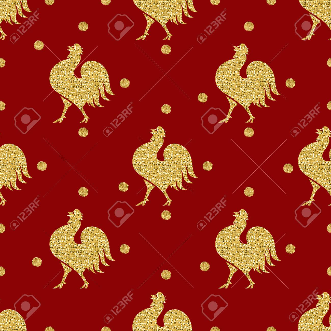 Vettoriale Pollo Glitter Oro Senza Soluzione Di Continuità Con
