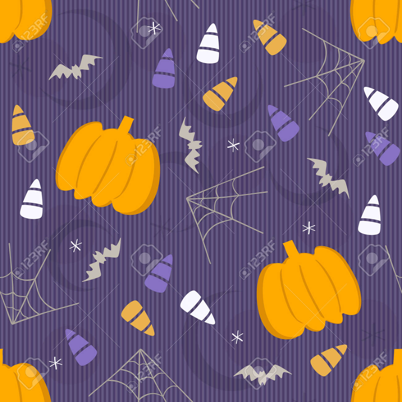 seamless halloween element pattern background with pumpkin and candy - 158591007