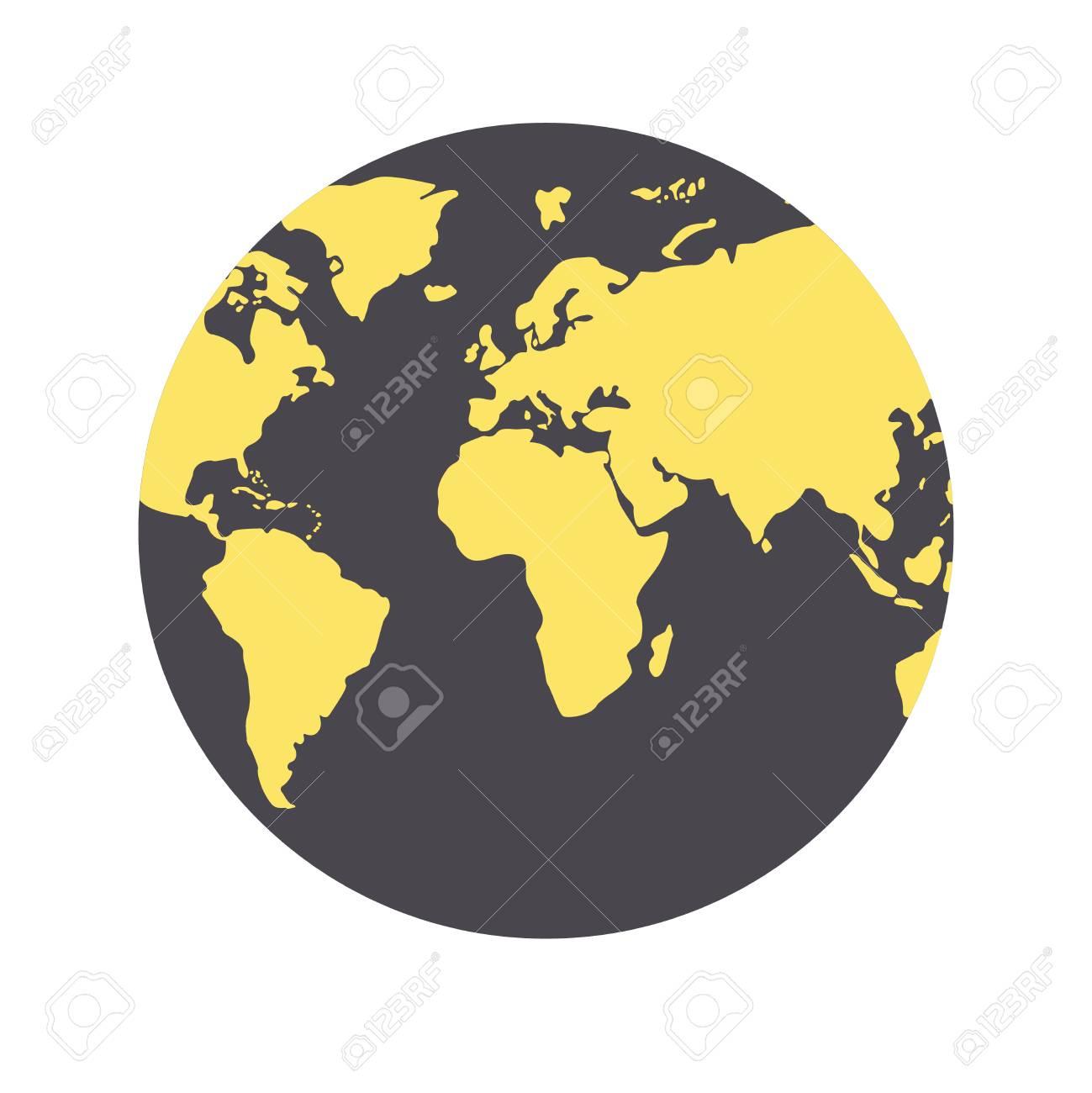 vector world map globe made of circle shapes black and yellow