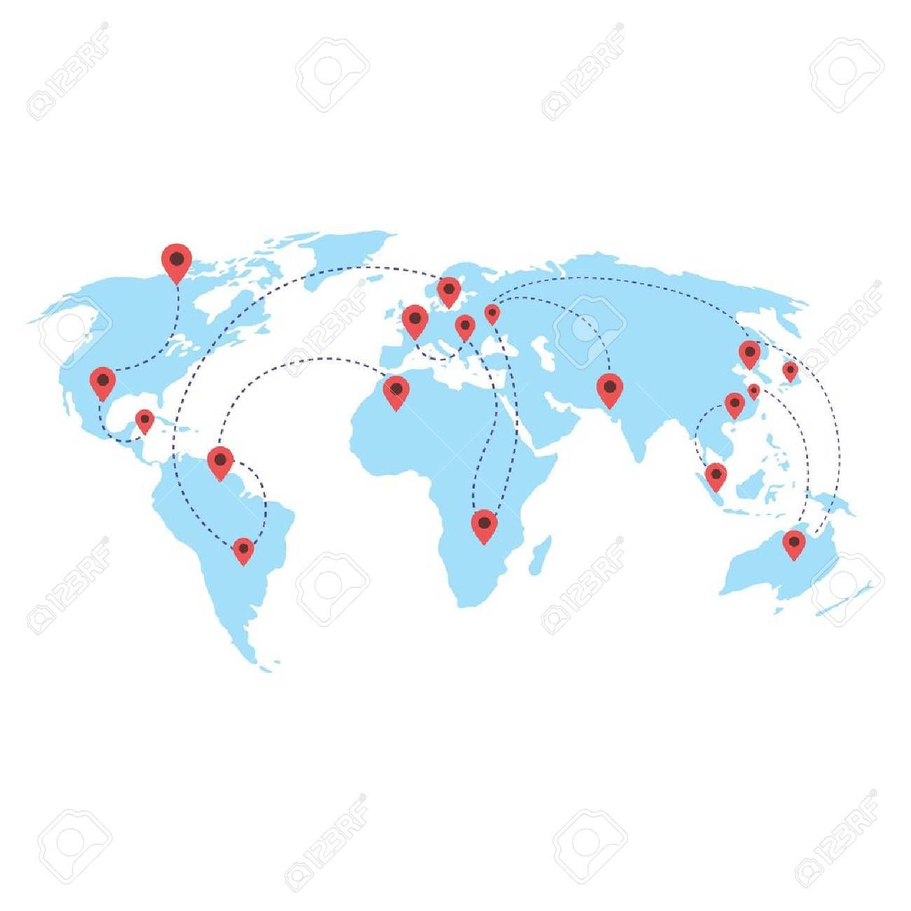 World Map With Locations Target Vector White Background Royalty Free on