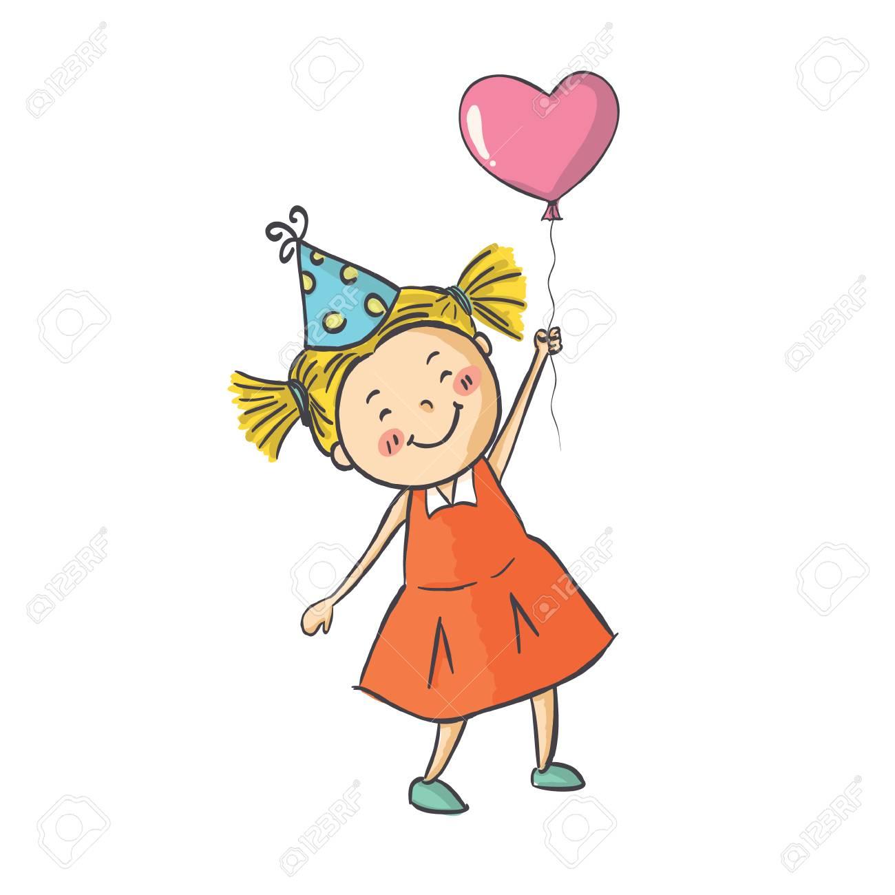 ベクトル イラスト笑顔のかわいい女の子ピンク バルーンの付いた背景の上に立って