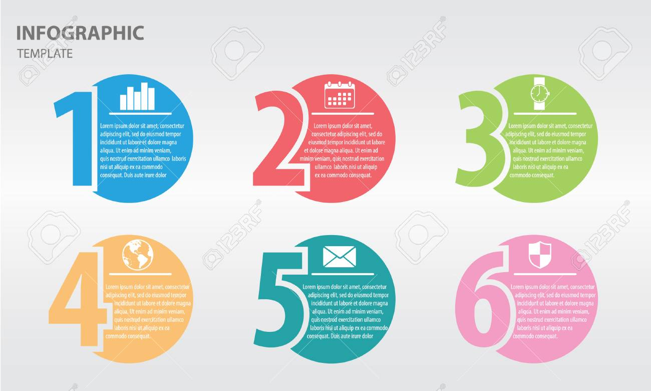 infographic design template with numbers six option royalty free
