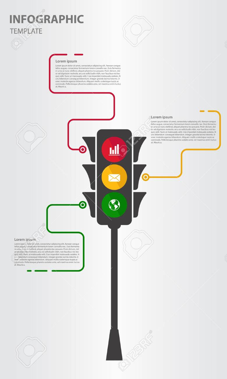 Infographic Design Template 3 Option With Traffic Light Royalty Free ...