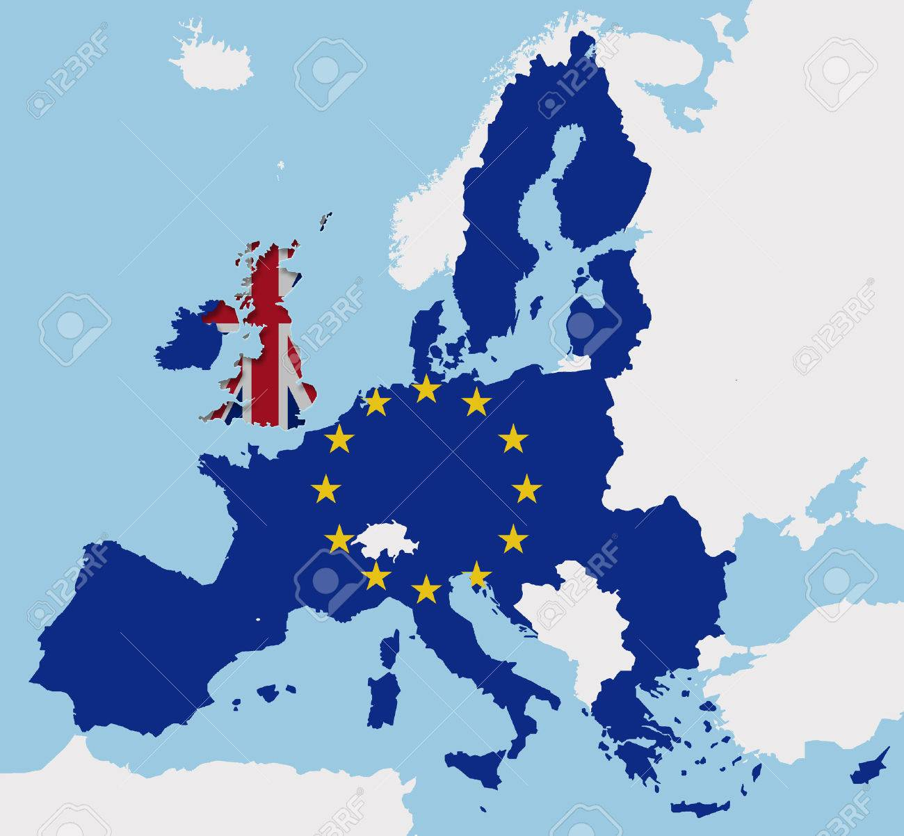 Map Of Uk In Europe.Uk Leaving The Eu With The Brexit Europe Map Cut Out Fx