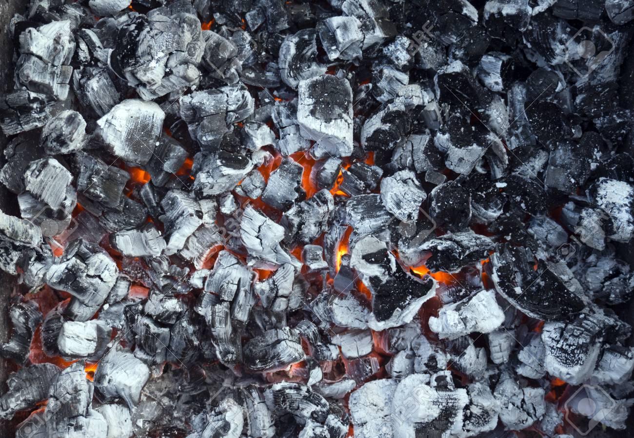 Smoldering Ashes Coal Bonfire Closeup Fire Burn