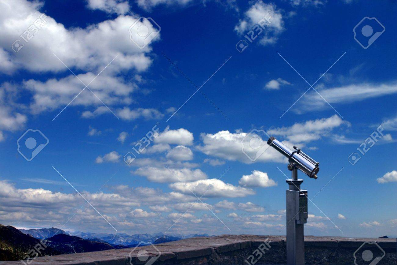 A spyglass is pointed towards the sky. It's a symbol of foresight and forecast. You can look at your targets and clearly see towards the horizons - 2093254