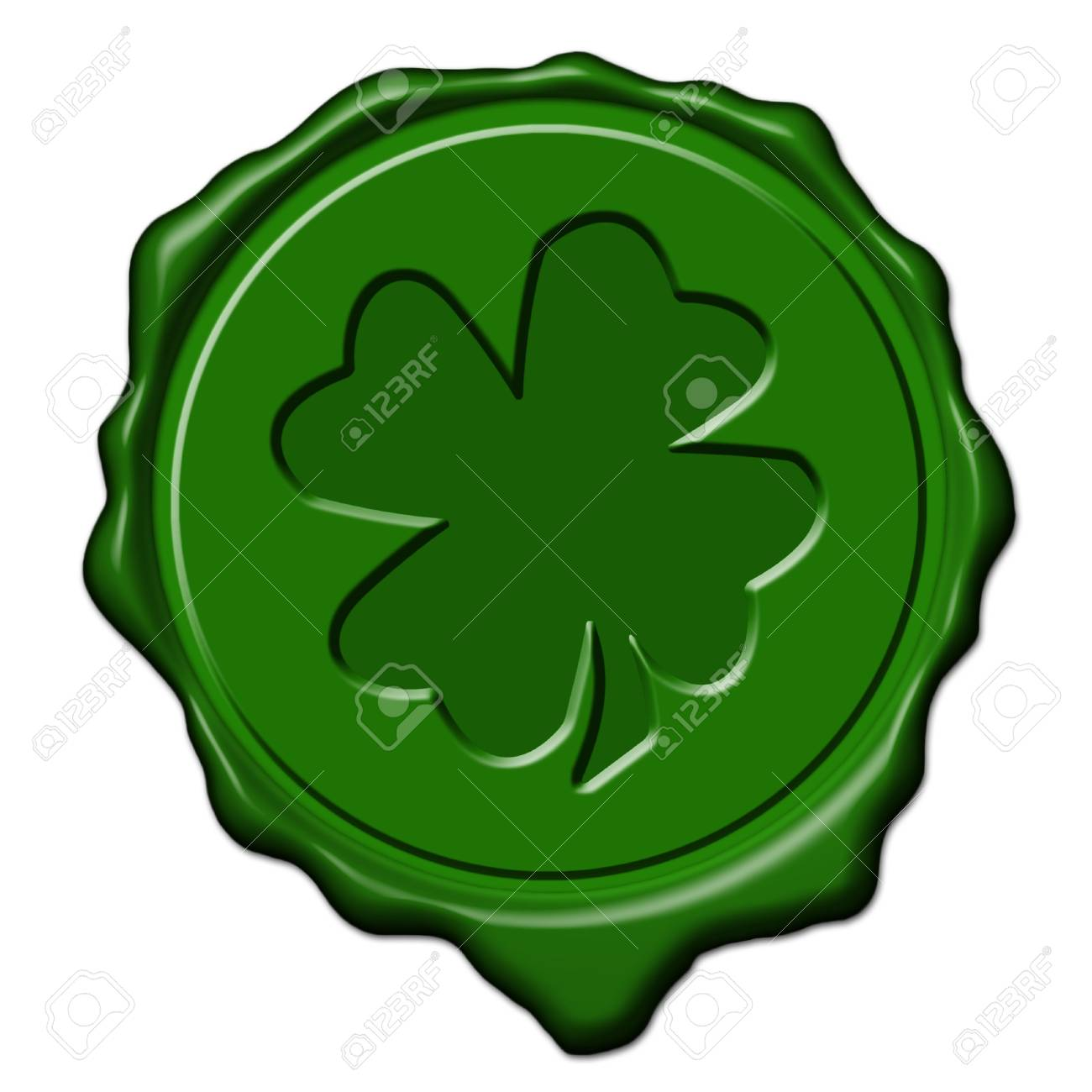 Green saint patrick's shamrock wax seal used to sign and close letters Stock Photo - 2672670