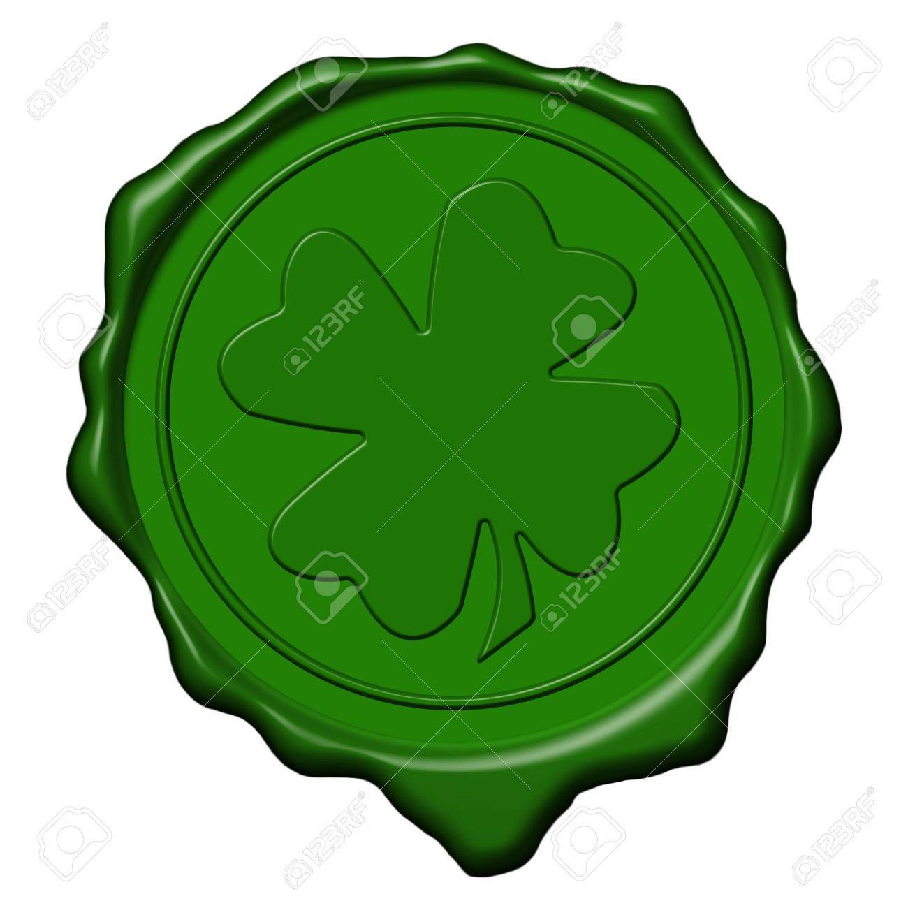 Green saint patrick's shamrock wax seal used to sign and close letters Stock Photo - 2806398