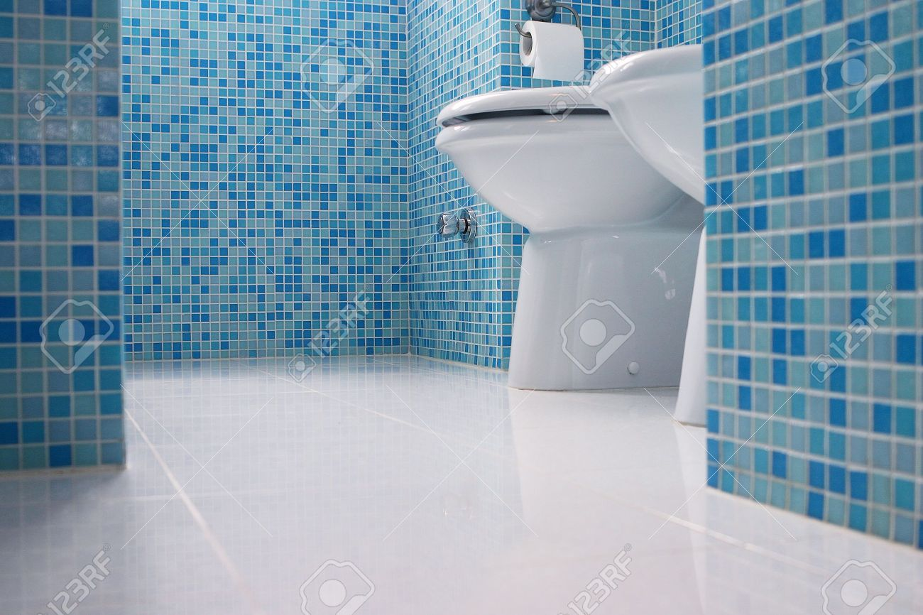 Blue Bathroom Closeup Stock Photo, Picture And Royalty Free Image ...