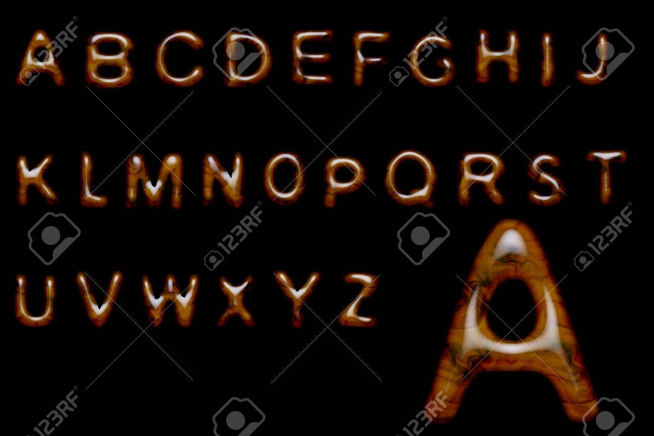 Complete alphabet made of shiny wood texture Stock Photo - 9375228